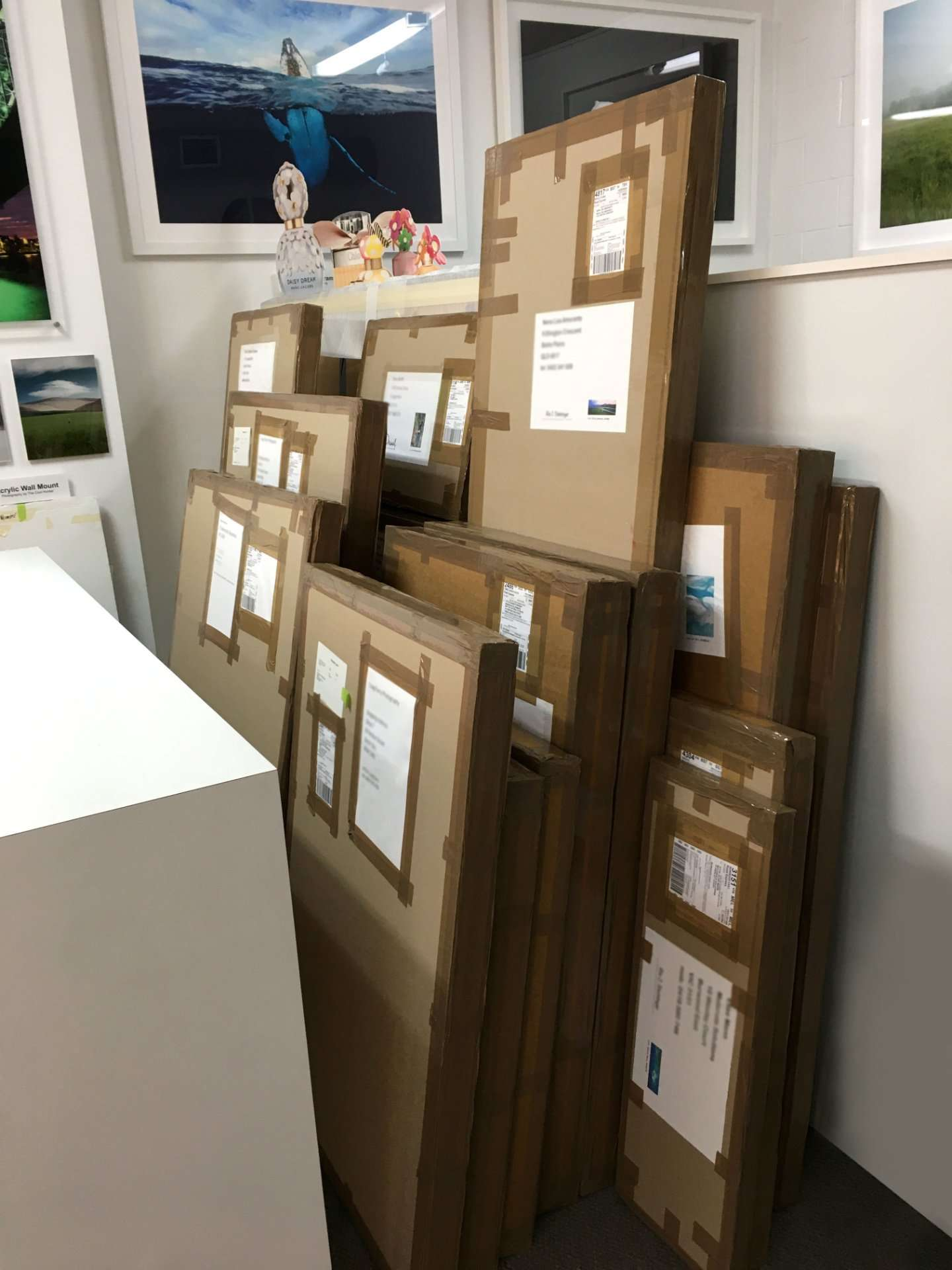 Packed prints and frames ready to go