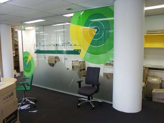 Printed frosty designs in office